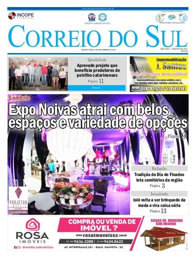 ANO XXVI EDIÇÃO Nº 5.037 QUINTA-FEIRA, 3 DE NOVEMBRO DE 2016 R$ 2,00 www.grupocorreiodosul.com.br 21º 16º ParcialmenteNubl...