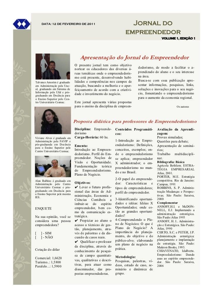 DATA: 12 DE FEVEREIRO DE 2011                                   Jornal do                                                 ...