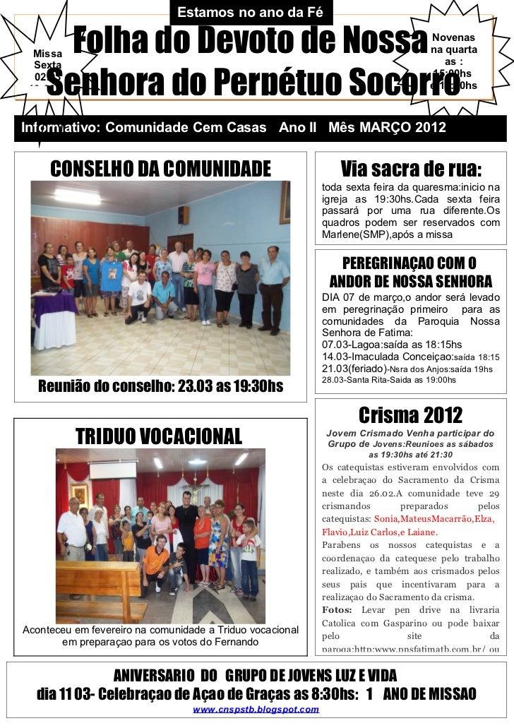 Estamos no ano da Fé     Folha do Devoto de Nossa  Missa  Sexta                                                           ...