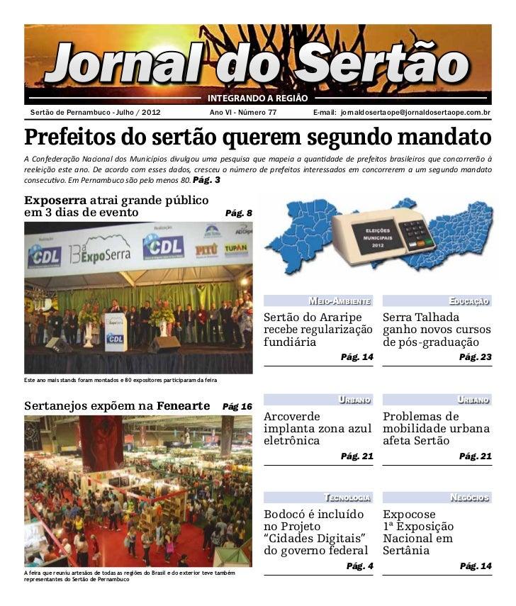 Jornal do Sertão                                                INTEGRANDO A REGIÃO  Sertão de Pernambuco - Julho / 2012 ...