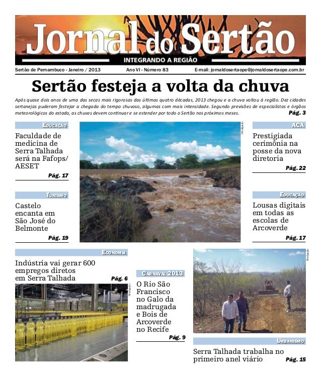 Sertão de Pernambuco - Janeiro / 2013              Ano VI - Número 83              E-mail: jornaldosertaope@jornaldoserta...