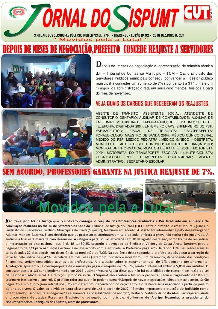SINDICATO DOS SERVIDORES PÚBLICOS MUNICIPAIS DE TRAIRI - TRAIRI – CE – EDIÇÃO Nº 02 - 20 DE DEZEMBRO DE 2011              ...