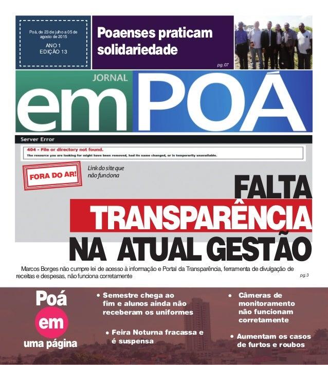 pg.07 Marcos Borges não cumpre lei de acesso à informação e Portal da Transparência, ferramenta de divulgação de receitas ...