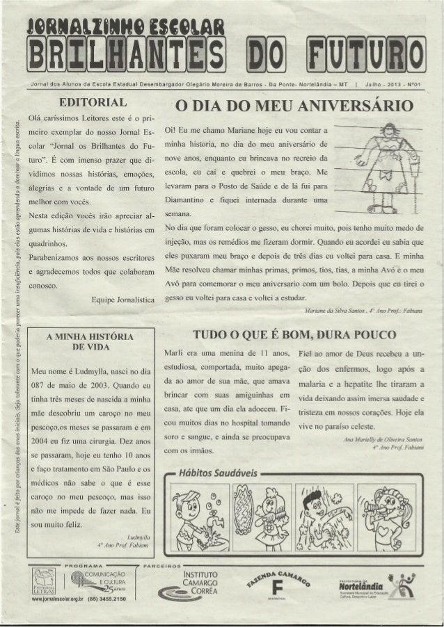 Jornal escolar brilhantes do futuro_julho-2013_n_01
