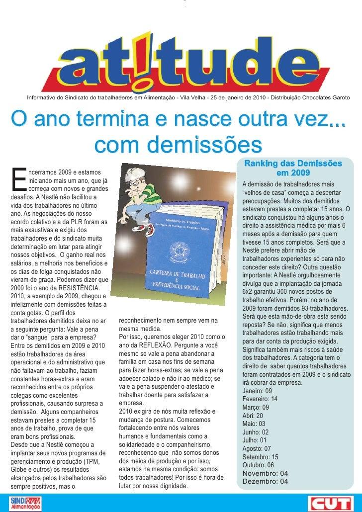 Informativo do Sindicato do trabalhadores em Alimentação - Vila Velha - 25 de janeiro de 2010 - Distribuição Chocolates Ga...