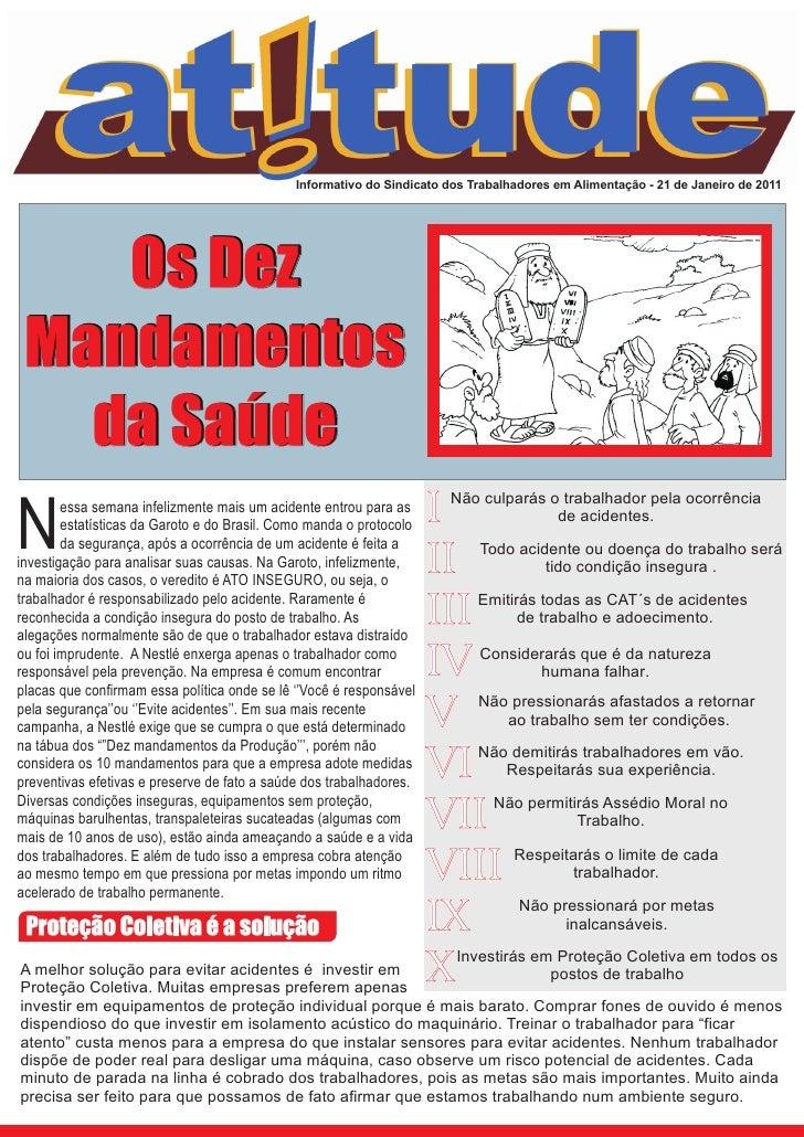 Informativo do Sindicato dos Trabalhadores em Alimentação - 21 de Janeiro de 2011    Os Dez Mandamentos   da Saúde        ...