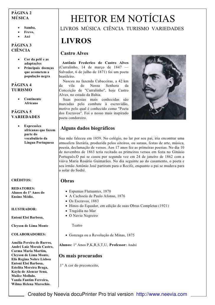 PÁGINA 2     MÚSICA                                          HEITOR EM NOTÍCIAS         •   Samba,                LIVROS M...