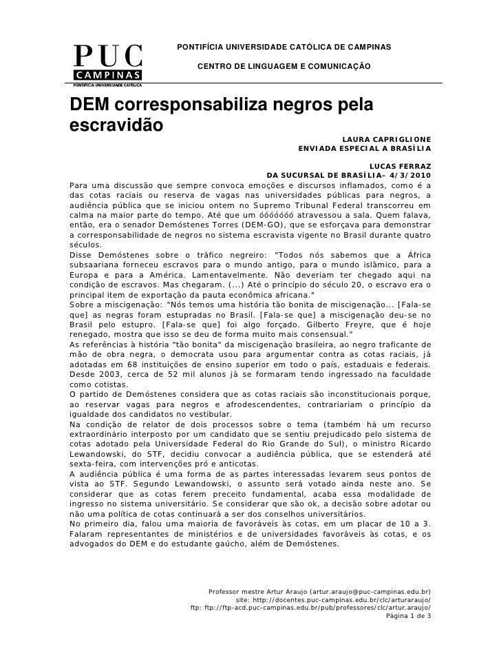 PONTIFÍCIA UNIVERSIDADE CATÓLICA DE CAMPINAS                                 CENTRO DE LINGUAGEM E COMUNICAÇÃO     DEM cor...