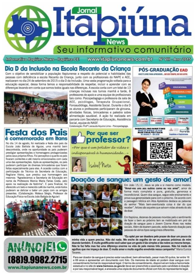 """Ul: _r¡v¡:   l""""  Seu informativo comunitário  mama [News a Itapiúna-c-E  Bic¡ i3 clic:  Inclusão na Escola Recanto da Cria..."""