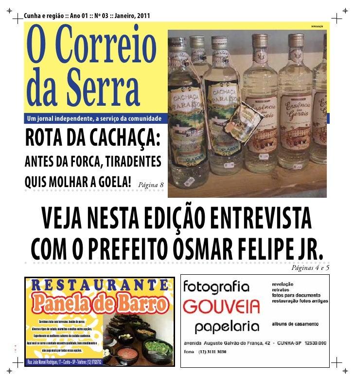 Cunha e região :: Ano 01 :: Nº 03 :: Janeiro, 2011       O Correio                                                        ...