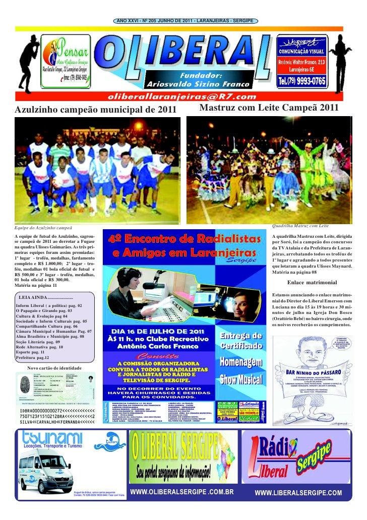 ANO XXVI - Nº 205 JUNHO DE 2011 - LARANJEIRAS - SERGIPEAzulzinho campeão municipal de 2011                                ...