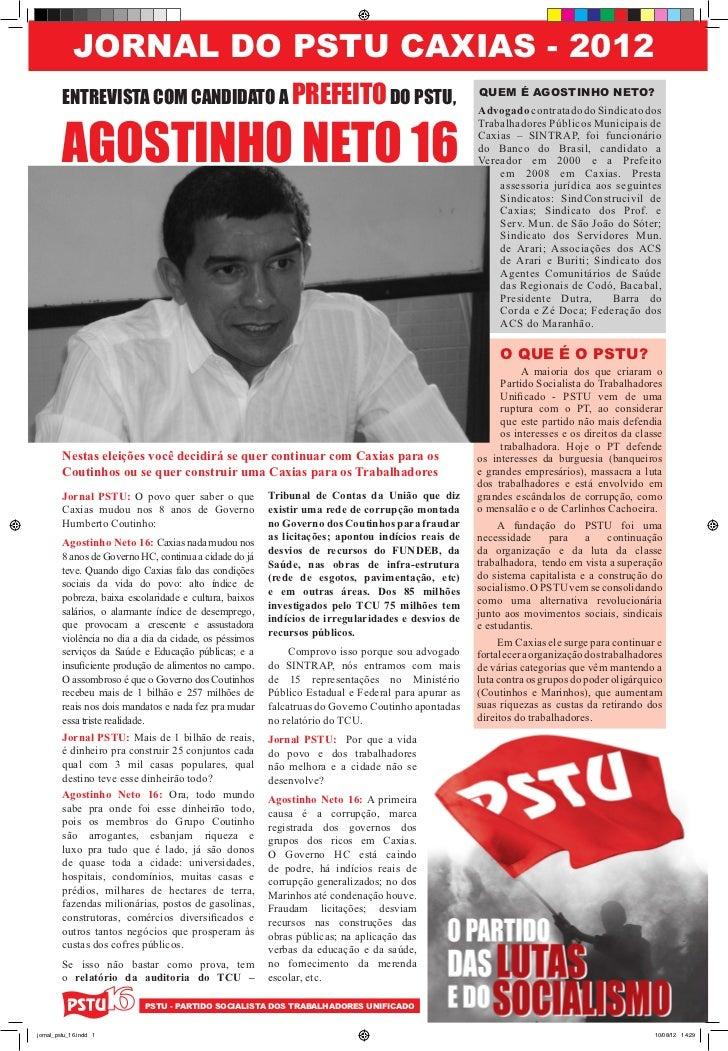 JORNAL DO PSTU CAXIAS - 2012        ENTREVISTA COM CANDIDATO A PREFEITO DO PSTU,                                          ...