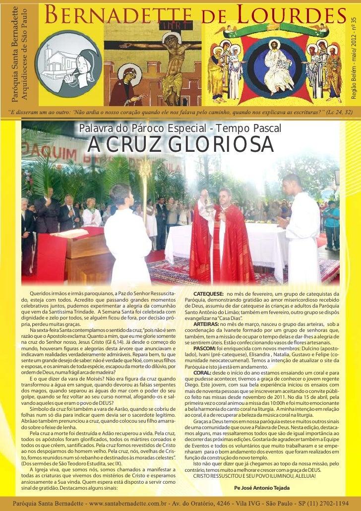 Região Belém - maio/ 2012 - nº 35                           Palavra do Pároco Especial - Tempo Pascal                     ...