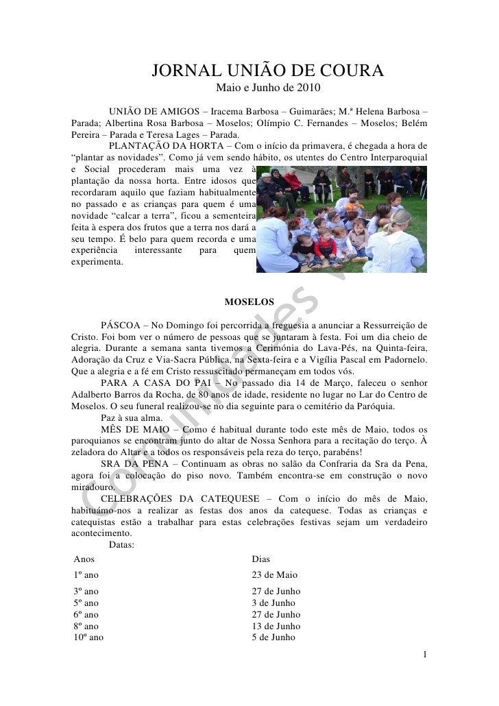 JORNAL UNIÃO DE COURA                                   Maio e Junho de 2010           UNIÃO DE AMIGOS – Iracema Barbosa –...