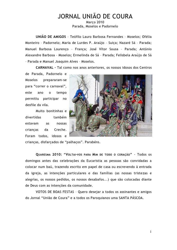 JORNAL UNIÃO DE COURA                                            Março 2010                                    Parada, Mos...