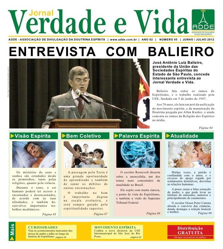 Verdade e Vida            Jornal                              ADDE - ASSOCIAÇÃO DE DIVULGAÇÃO DA DOUTRINA ESPÍRITA | www.a...