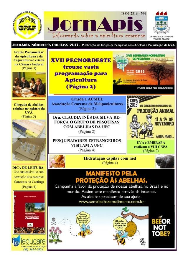 ISSN 2316-4794  JornApis  Informando sobre a apicultura cearense JornApis, Número 9, Out/Dez, 2013 - Publicação do Grupo d...