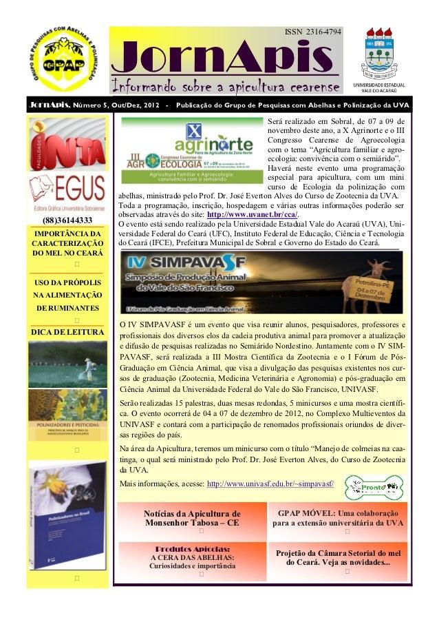 ISSN 2316-4794                     JornApis                     Informando sobre a apicultura cearenseJornApis, Número 5, ...