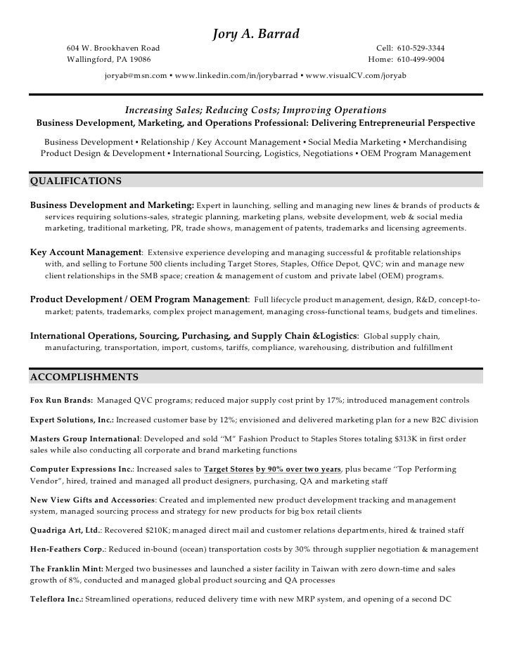 jory a barrad 604 w brookhaven road - Wholesale Buyer Resume