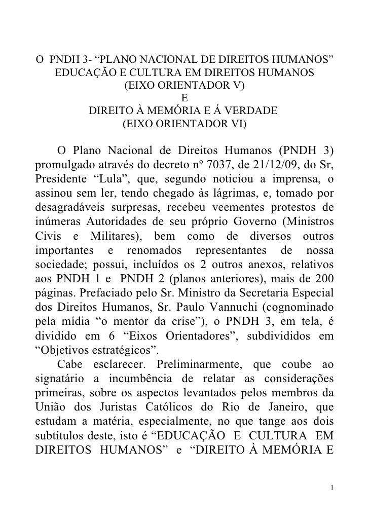 """O PNDH 3- """"PLANO NACIONAL DE DIREITOS HUMANOS""""    EDUCAÇÃO E CULTURA EM DIREITOS HUMANOS                (EIXO ORIENTADOR V..."""