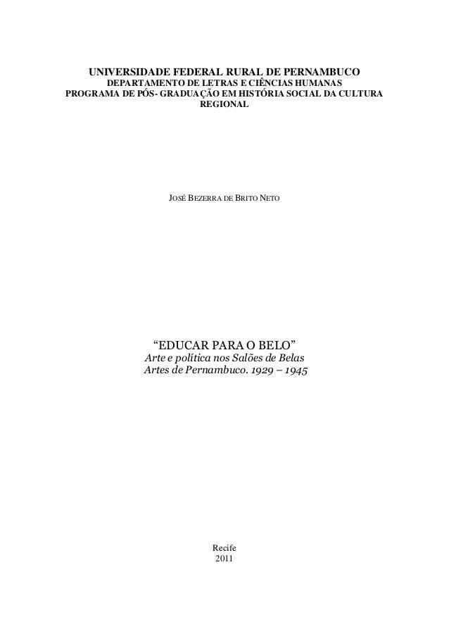 UNIVERSIDADE FEDERAL RURAL DE PERNAMBUCO DEPARTAMENTO DE LETRAS E CIÊNCIAS HUMANAS PROGRAMA DE PÓS- GRADUAÇÃO EM HISTÓRIA ...
