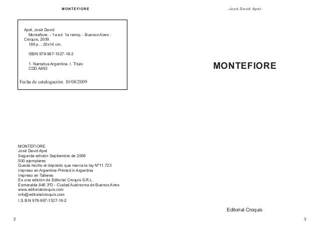 M ON T E F IOR E  - José David Apel-  Apel, José David Montefiore. - 1a ed. 1a reimp. - Buenos Aires : Croquis, 2009. 186 ...