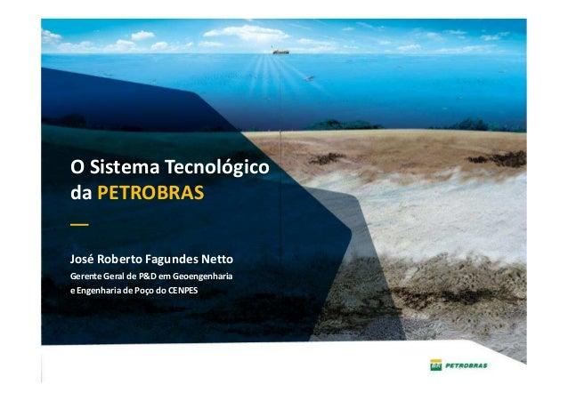 José Roberto Fagundes Netto Gerente Geral de P&D em Geoengenharia e Engenharia de Poço do CENPES Rio de Janeiro, 29 de mai...