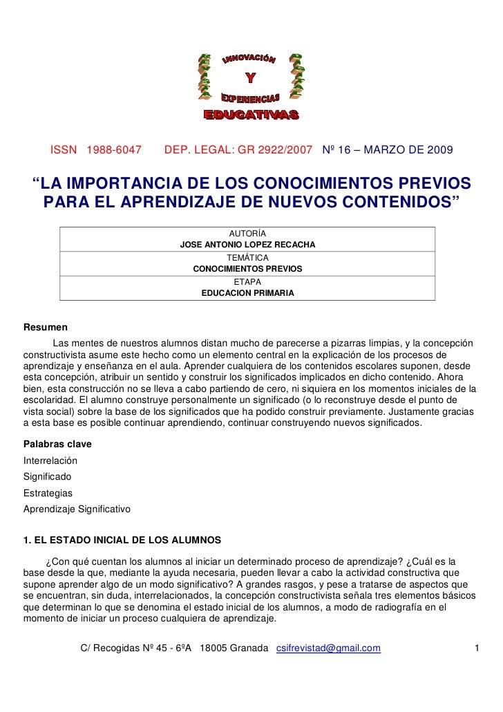 """ISSN 1988-6047             DEP. LEGAL: GR 2922/2007 Nº 16 – MARZO DE 2009  """"LA IMPORTANCIA DE LOS CONOCIMIENTOS PREVIOS   ..."""