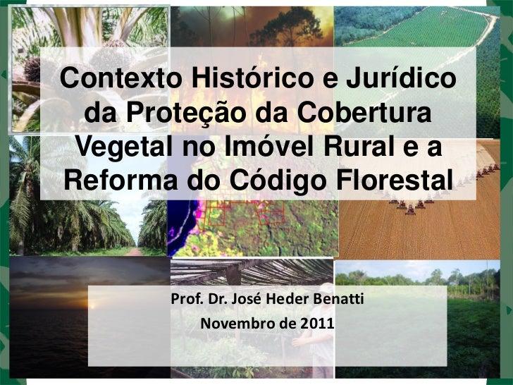 Contexto Histórico e Jurídico  da Proteção da Cobertura Vegetal no Imóvel Rural e aReforma do Código Florestal        Prof...