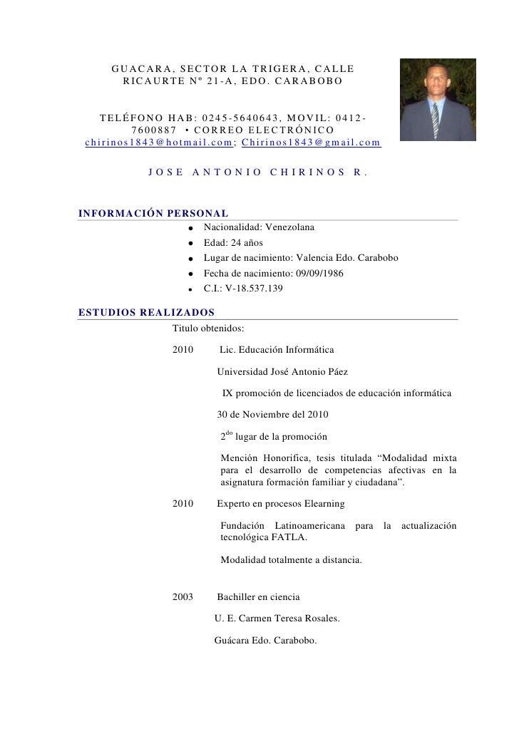 Jose chirinos currículo