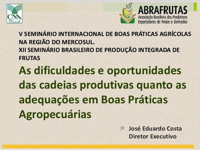  José Eduardo Costa Diretor Executivo As dificuldades e oportunidades das cadeias produtivas quanto as adequações em Boas...