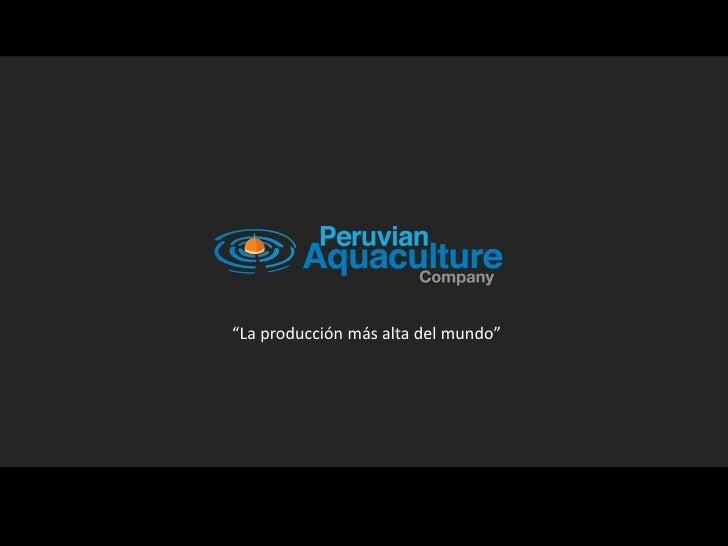 """""""La producción más alta del mundo"""""""