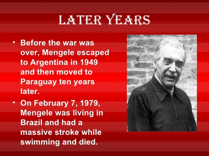 dr mengele research paper Human experimentation pic mengele used auschwitz as an opportunity to continue his research on heredity, using inmates for human experimentation he was.