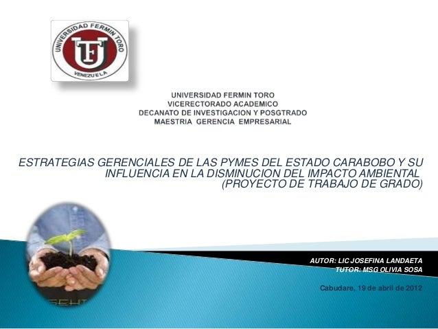ESTRATEGIAS GERENCIALES DE LAS PYMES DEL ESTADO CARABOBO Y SUINFLUENCIA EN LA DISMINUCION DEL IMPACTO AMBIENTAL(PROYECTO D...