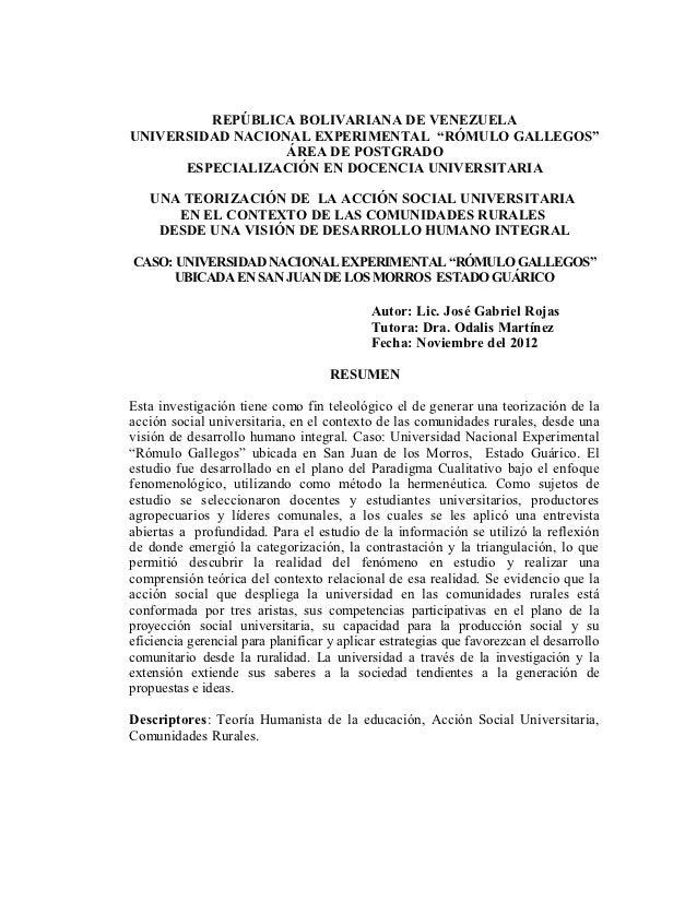 """REPÚBLICA BOLIVARIANA DE VENEZUELAUNIVERSIDAD NACIONAL EXPERIMENTAL """"RÓMULO GALLEGOS""""                  ÁREA DE POSTGRADO  ..."""