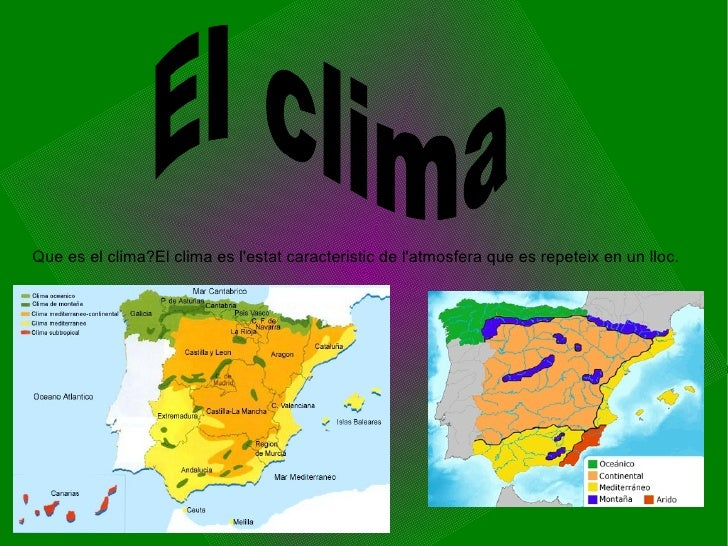 Que es el clima?El clima es l'estat caracteristic de l'atmosfera que es repeteix en un lloc. El clima