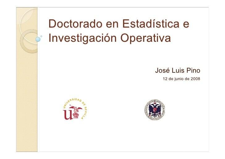 Doctorado en Estadística e Investigación Operativa                     José Luis Pino                      12 de junio de ...