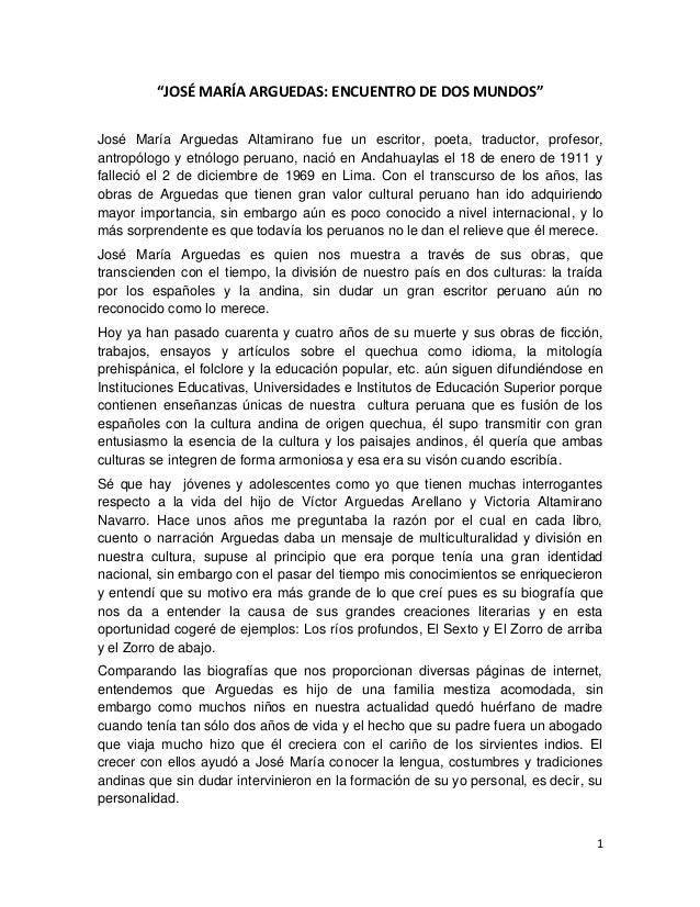 """""""JOSÉ MARÍA ARGUEDAS: ENCUENTRO DE DOS MUNDOS"""" José María Arguedas Altamirano fue un escritor, poeta, traductor, profesor,..."""