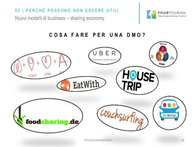 FOURTOURISM©2016 16 Nuovi modelli di business – sharing economy C O S A F A R E P E R U N A D M O ? 0 2 | P E R C H É P O ...