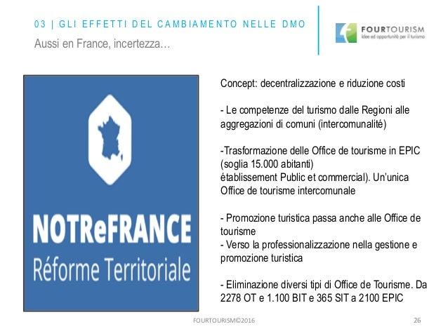 FOURTOURISM©2016 26 Concept: decentralizzazione e riduzione costi - Le competenze del turismo dalle Regioni alle aggregazi...