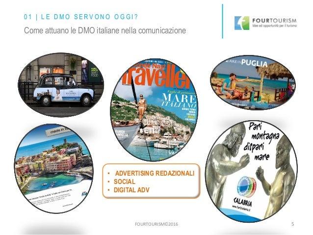 FOURTOURISM©2016 5 • ADVERTISING REDAZIONALI • SOCIAL • DIGITAL ADV Come attuano le DMO italiane nella comunicazione 0 1 |...