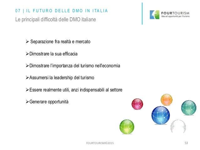 FOURTOURISM©2015 53 0 7 | I L F U T U R O D E L L E D M O I N I TA L I A Le principali difficoltà delle DMO italiane  Sep...