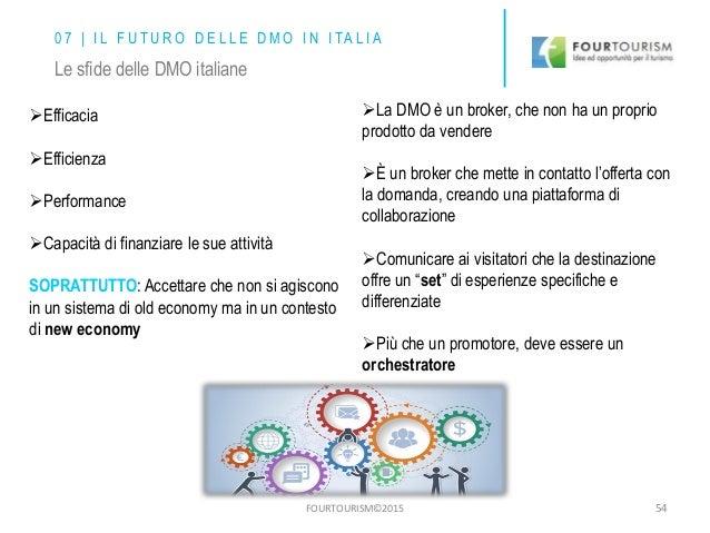 FOURTOURISM©2015 54 0 7 | I L F U T U R O D E L L E D M O I N I TA L I A Le sfide delle DMO italiane Efficacia Efficienz...