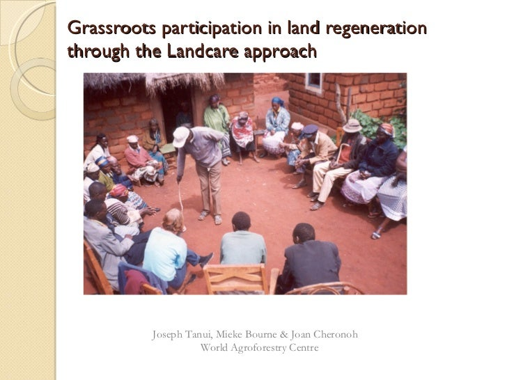 Grassroots participation in land regenerationthrough the Landcare approach          Joseph Tanui, Mieke Bourne & Joan Cher...