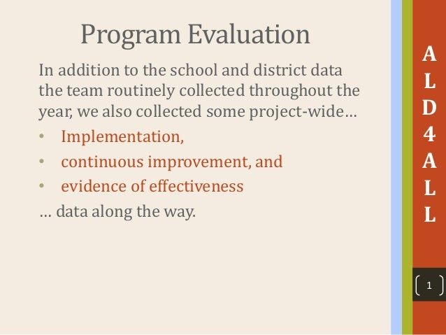 Program Evaluation In addition to the school and district data the team routinely collected throughout the year, we also c...