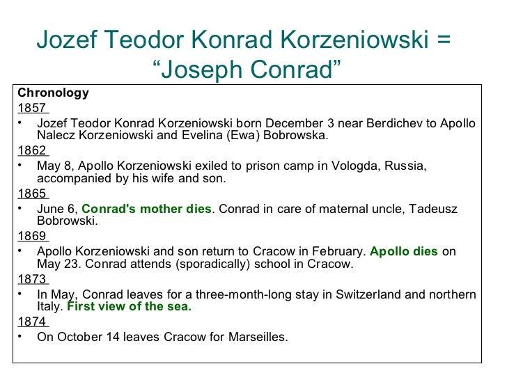 "Jozef Teodor Konrad Korzeniowski =  ""Joseph Conrad"" <ul><li>Chronology </li></ul><ul><li>1857  </li></ul><ul><li>Jozef Teo..."