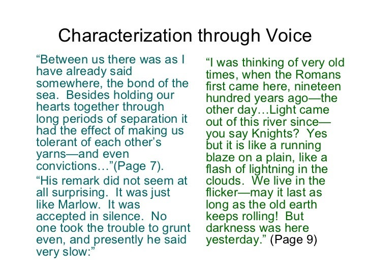 """Characterization through Voice <ul><li>"""" Between us there was as I have already said somewhere, the bond of the sea.  Besi..."""