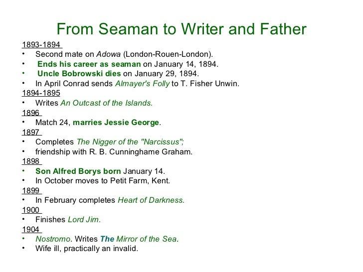 From Seaman to Writer and Father <ul><li>1893-1894  </li></ul><ul><li>Second mate on  Adowa  (London-Rouen-London). </li><...