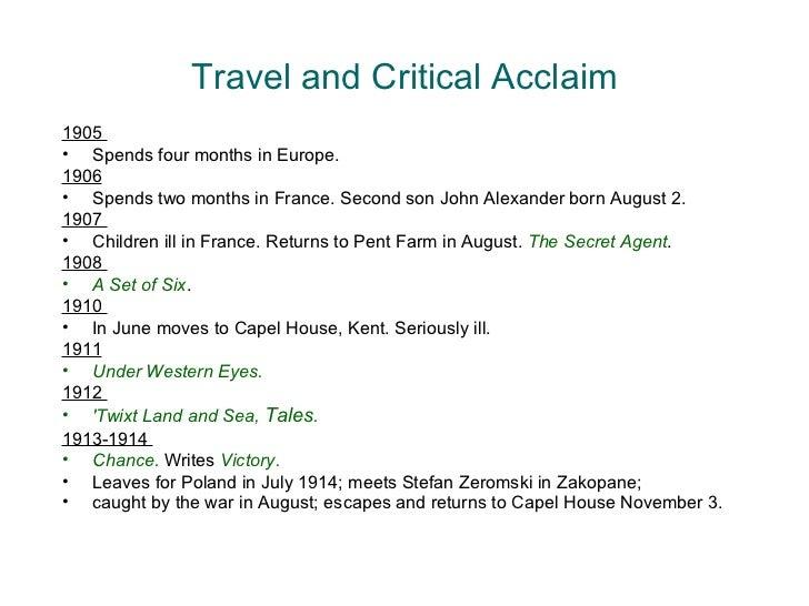 Travel and Critical Acclaim <ul><li>1905  </li></ul><ul><li>Spends four months in Europe.  </li></ul><ul><li>1906   </li><...