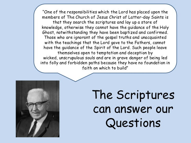 """""""One of the responsibilities which the Lord has placed upon the members of The Church of Jesus Christ of Latter-day Saints..."""